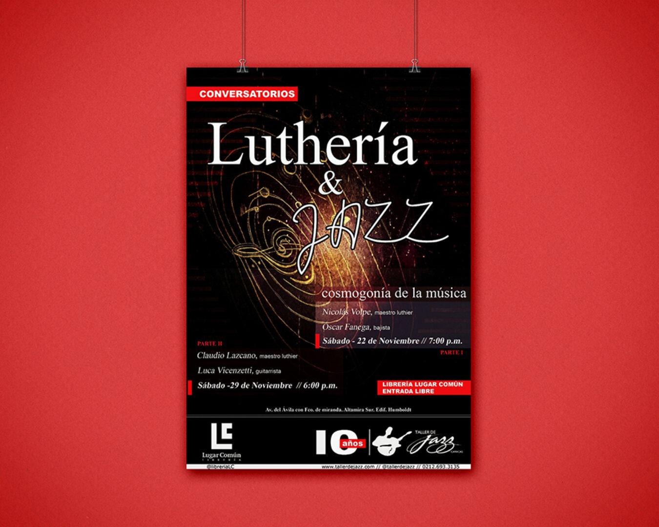 Poster Luthería & Jazz para el 10° aniversario del Taller de Jazz